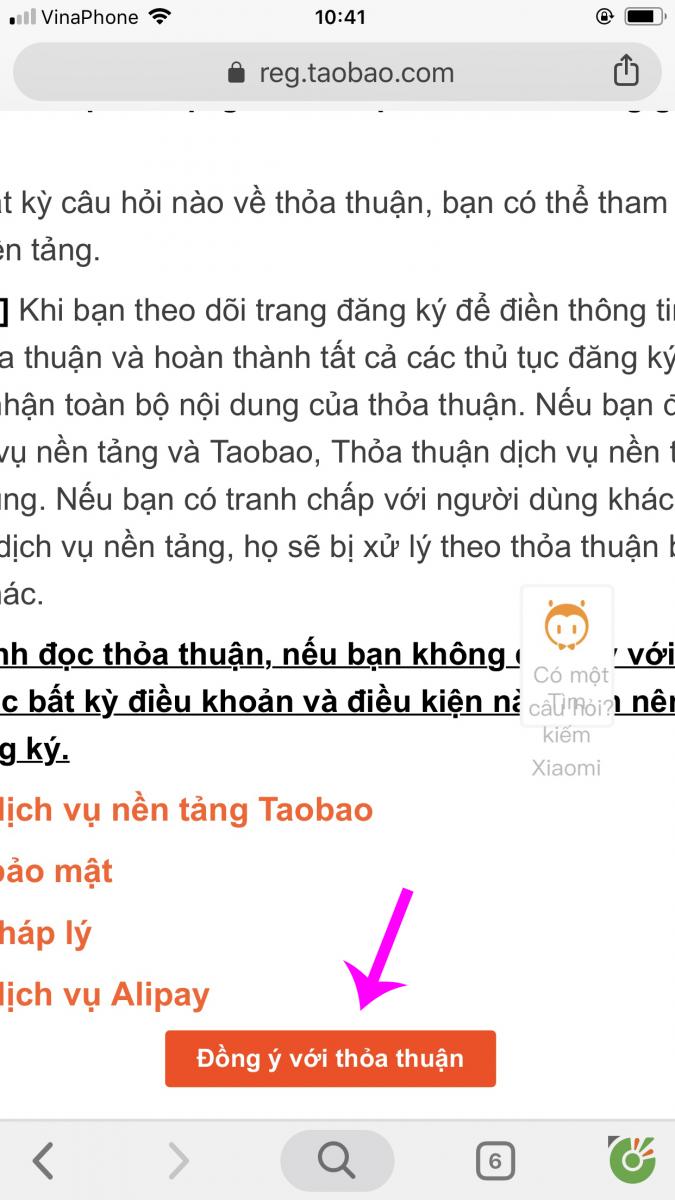 huong dan dang ky tai khoan tren taobao bang dien thoai 1