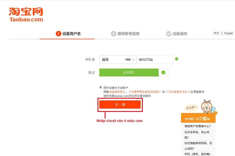 cách đăng ký tài khoản taobao bằng gmail