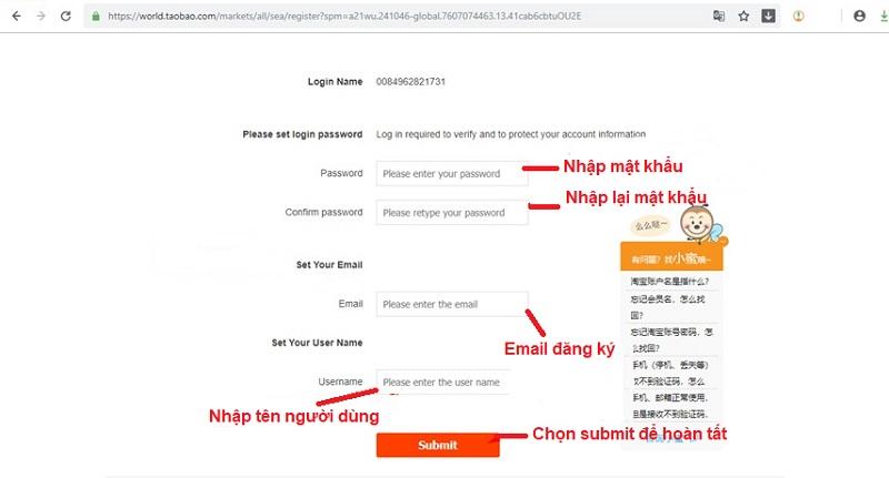 cách đăng ký tài khoản taobao trên ip